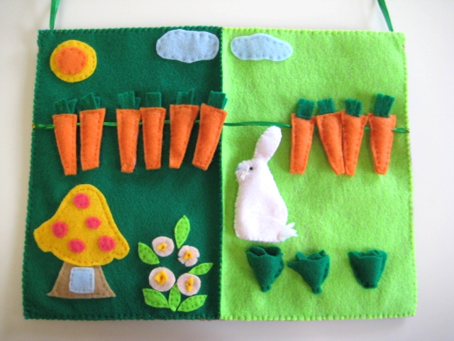 Quiet Book, Bunny Garden, Felt Board for Kindergarten and Preschool