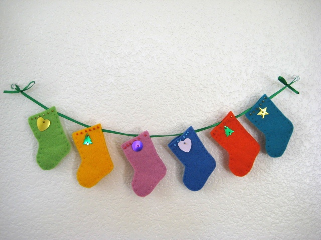 Christmas stocking ornament felt colorful mini socks for Felt stocking decorations